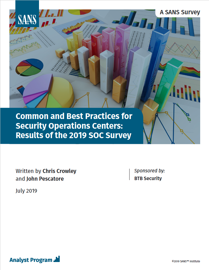 Common and Best Practices for SOCs: Results of the 2019 SANS SOC Survey
